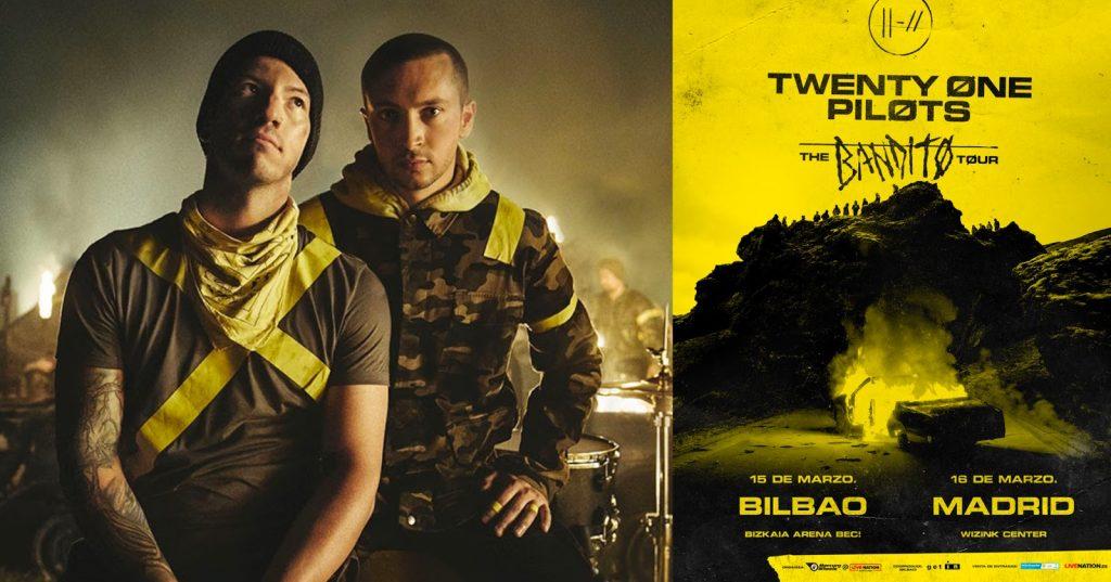 cartel anunciador del concierto de twenty one pilots en Bilbao.